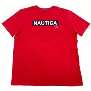 Nautica Spellout 90s Red Block Logo T-Shirt 2XL
